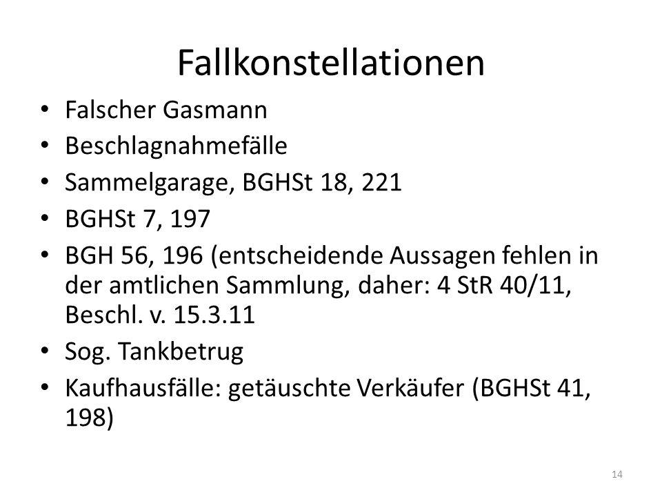 Fallkonstellationen Falscher Gasmann Beschlagnahmefälle Sammelgarage, BGHSt 18, 221 BGHSt 7, 197 BGH 56, 196 (entscheidende Aussagen fehlen in der amt