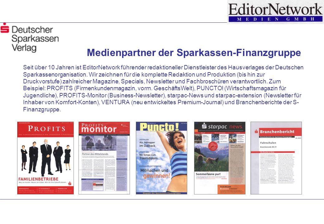 Seit über 10 Jahren ist EditorNetwork führender redaktioneller Dienstleister des Hausverlages der Deutschen Sparkassenorganisation.