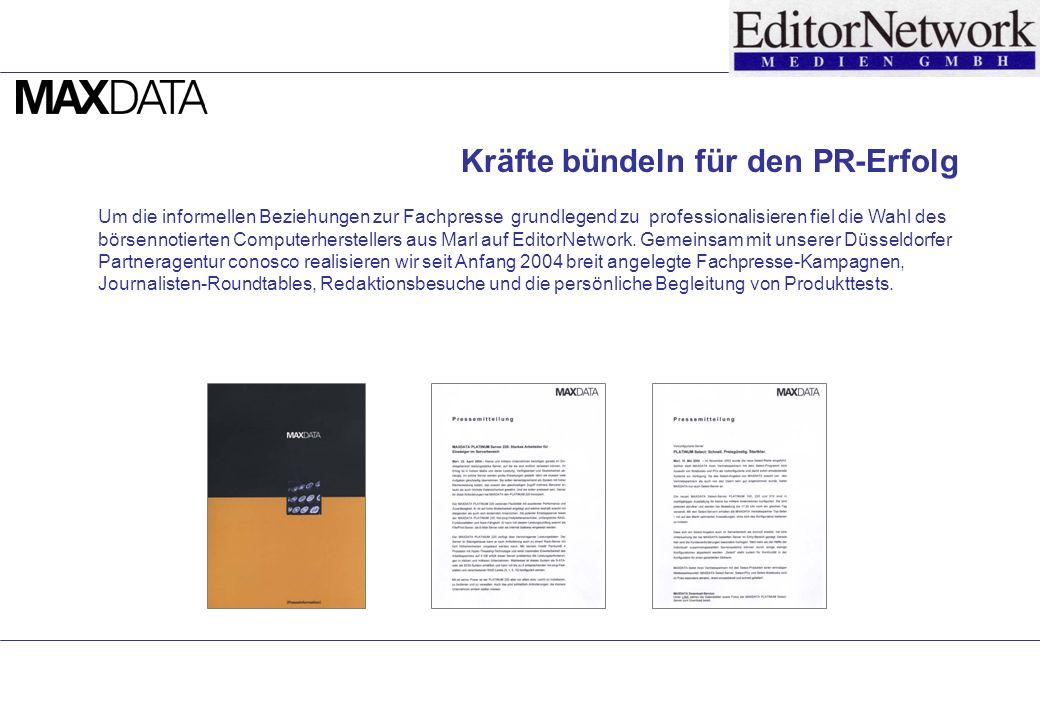 Um die informellen Beziehungen zur Fachpresse grundlegend zu professionalisieren fiel die Wahl des börsennotierten Computerherstellers aus Marl auf EditorNetwork.