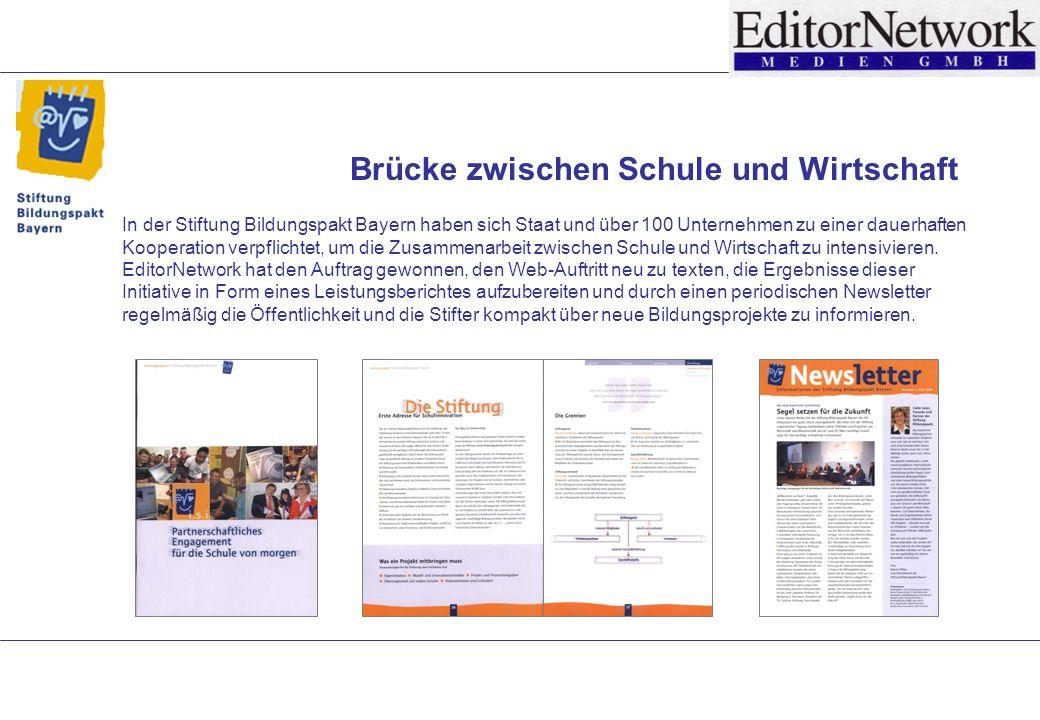 Brücke zwischen Schule und Wirtschaft In der Stiftung Bildungspakt Bayern haben sich Staat und über 100 Unternehmen zu einer dauerhaften Kooperation verpflichtet, um die Zusammenarbeit zwischen Schule und Wirtschaft zu intensivieren.