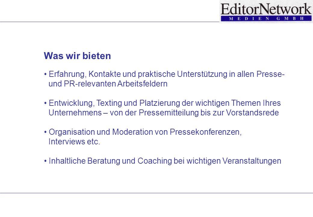 Kurz nach der Gründung des auf automatische Warendisposition spezialisierten Softwareunternehmens mit Sitz im schweizerischen Tägerwilen wurde EditorNetwork als PR-Agentur engagiert.