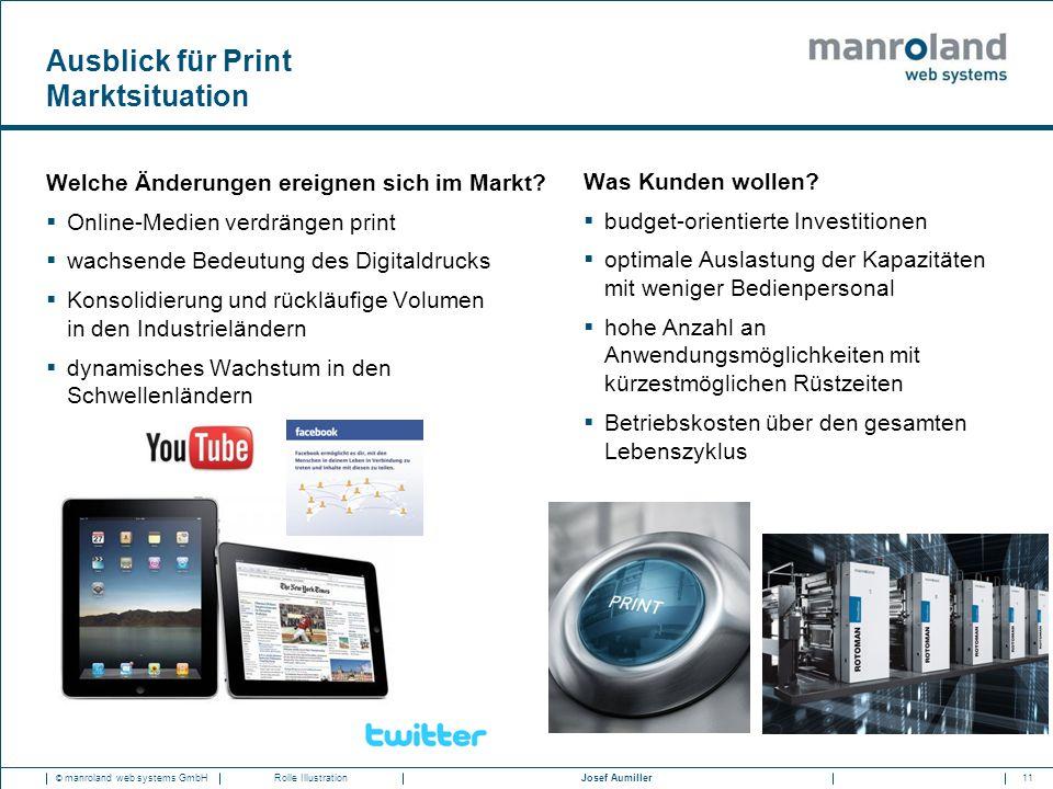 11Josef Aumiller © manroland web systems GmbHRolle Illustration Ausblick für Print Marktsituation Welche Änderungen ereignen sich im Markt?  Online-M