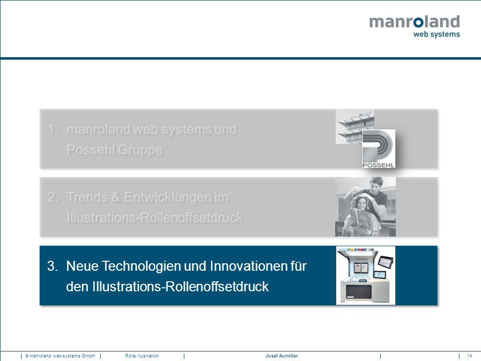 14Josef Aumiller © manroland web systems GmbHRolle Illustration 1.manroland web systems und Possehl Gruppe 2.Trends & Entwicklungen im Illustrations-Rollenoffsetdruck 3.Neue Technologien und Innovationen für den Illustrations-Rollenoffsetdruck