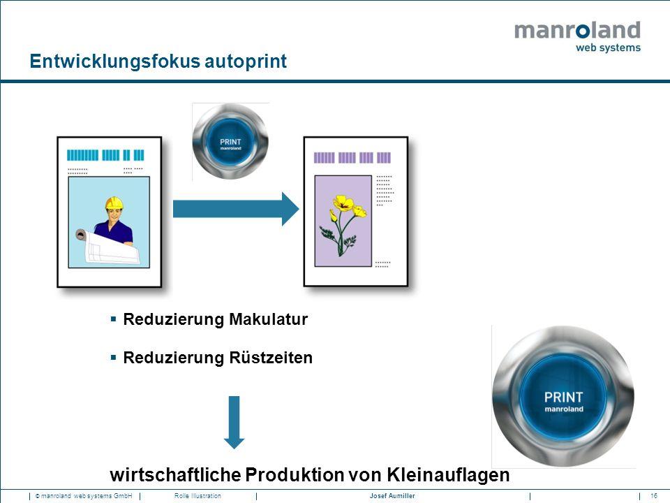 16Josef Aumiller © manroland web systems GmbHRolle Illustration Entwicklungsfokus autoprint  Reduzierung Makulatur  Reduzierung Rüstzeiten wirtschaftliche Produktion von Kleinauflagen