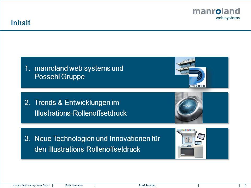 23Josef Aumiller © manroland web systems GmbHRolle Illustration Unsere Finishing-Lösungen für den Digitaldruck  Bücherfalzapparat: FormerLine  Format-variables Punkturfalzwerk: FoldLine