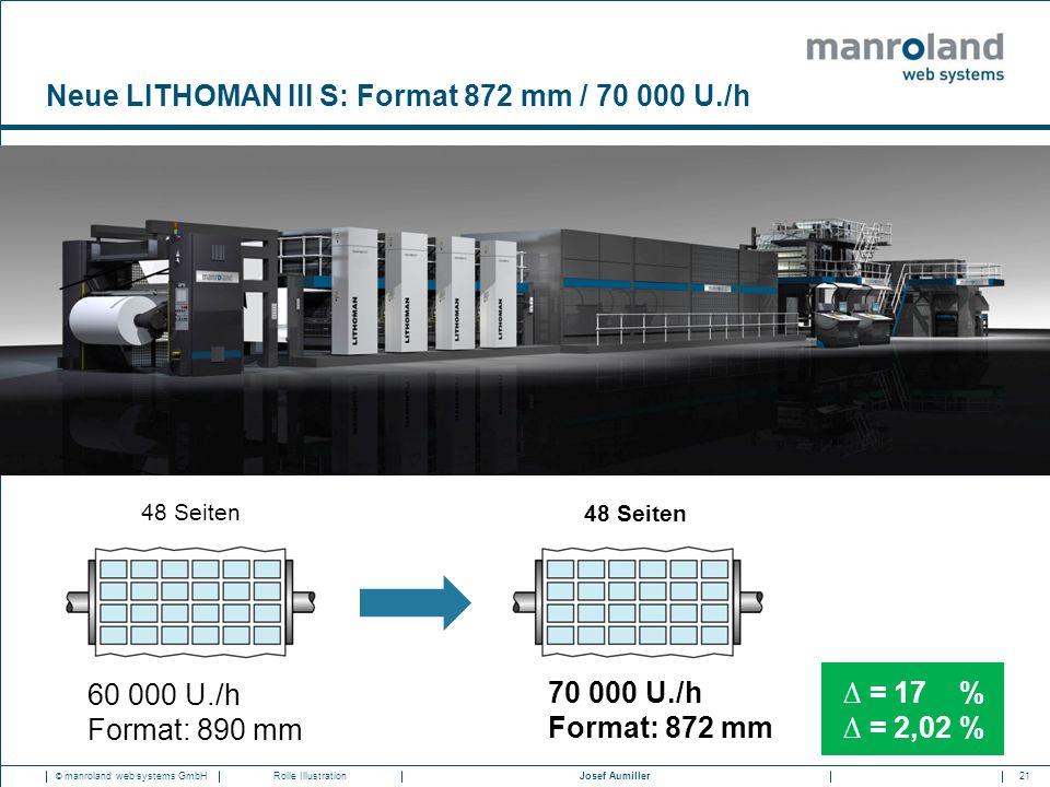 21Josef Aumiller © manroland web systems GmbHRolle Illustration Neue LITHOMAN III S: Format 872 mm / 70 000 U./h 48 Seiten 60 000 U./h Format: 890 mm