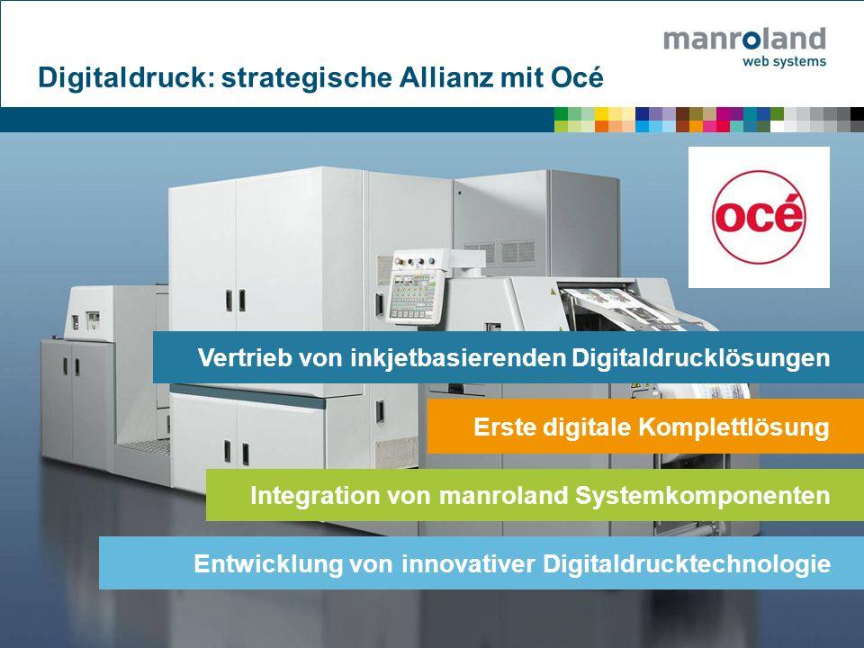 Digitaldruck: strategische Allianz mit Océ Vertrieb von inkjetbasierenden Digitaldrucklösungen Erste digitale Komplettlösung Integration von manroland Systemkomponenten Entwicklung von innovativer Digitaldrucktechnologie