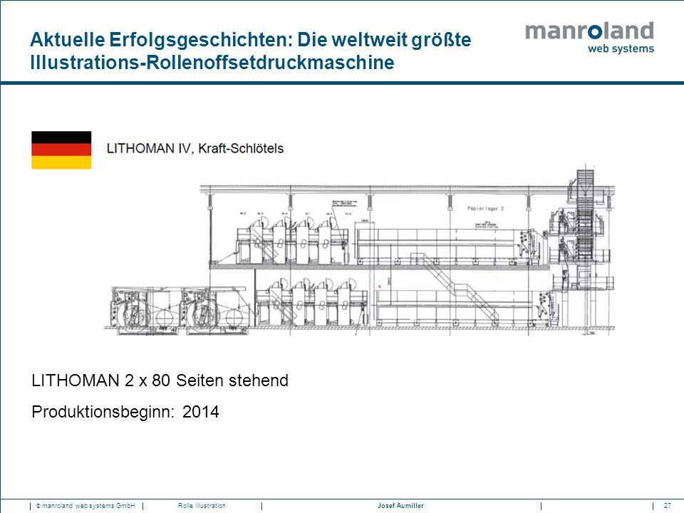 27Josef Aumiller © manroland web systems GmbHRolle Illustration LITHOMAN 2 x 80 Seiten stehend Produktionsbeginn: 2014 Aktuelle Erfolgsgeschichten: Di