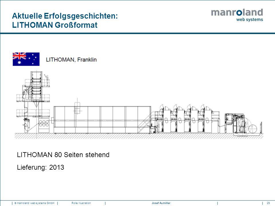 29Josef Aumiller © manroland web systems GmbHRolle Illustration LITHOMAN 80 Seiten stehend Lieferung: 2013 Aktuelle Erfolgsgeschichten: LITHOMAN Großf