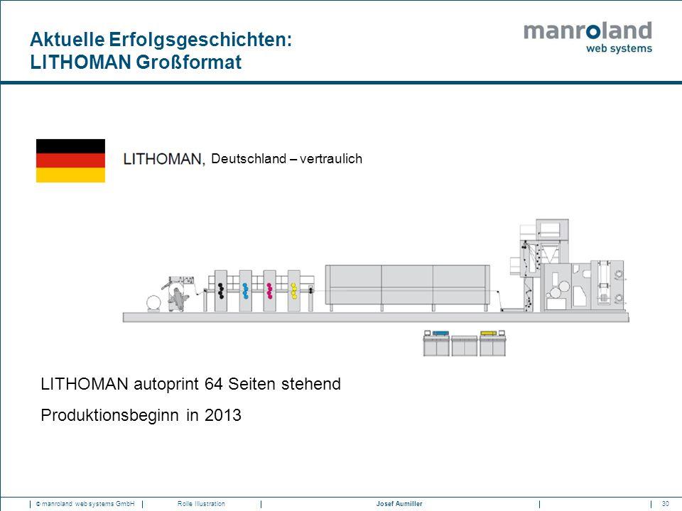 30Josef Aumiller © manroland web systems GmbHRolle Illustration LITHOMAN autoprint 64 Seiten stehend Produktionsbeginn in 2013 Deutschland – vertrauli