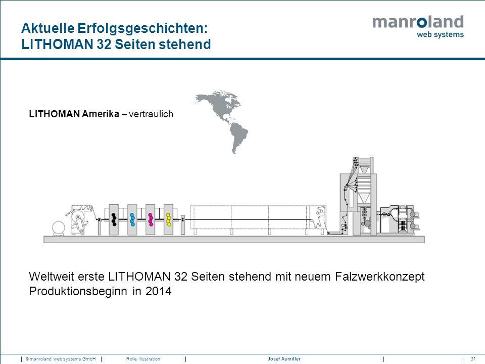 31Josef Aumiller © manroland web systems GmbHRolle Illustration Weltweit erste LITHOMAN 32 Seiten stehend mit neuem Falzwerkkonzept Produktionsbeginn