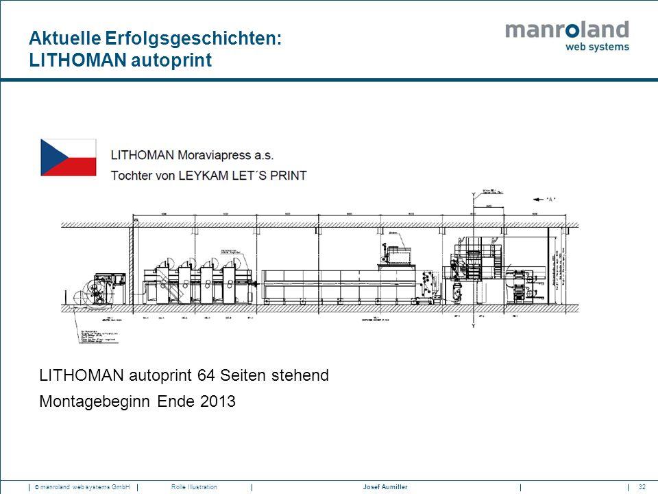 32Josef Aumiller © manroland web systems GmbHRolle Illustration LITHOMAN autoprint 64 Seiten stehend Montagebeginn Ende 2013 Aktuelle Erfolgsgeschicht