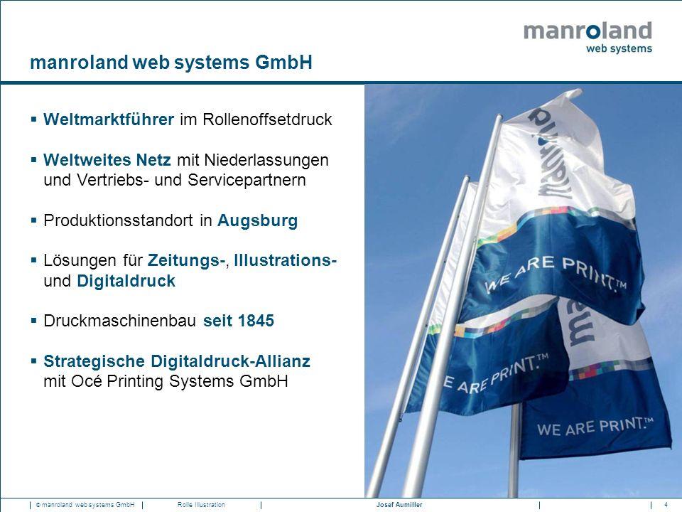 4Josef Aumiller © manroland web systems GmbHRolle Illustration manroland web systems GmbH  Weltmarktführer im Rollenoffsetdruck  Weltweites Netz mit