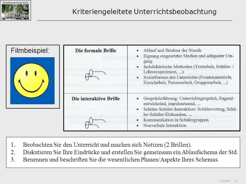 Köster `11 Studienseminar Köln Kriteriengeleitete Unterrichtsbeobachtung Filmbeispiel: 1.Beobachten Sie den Unterricht und machen sich Notizen (2 Brillen).