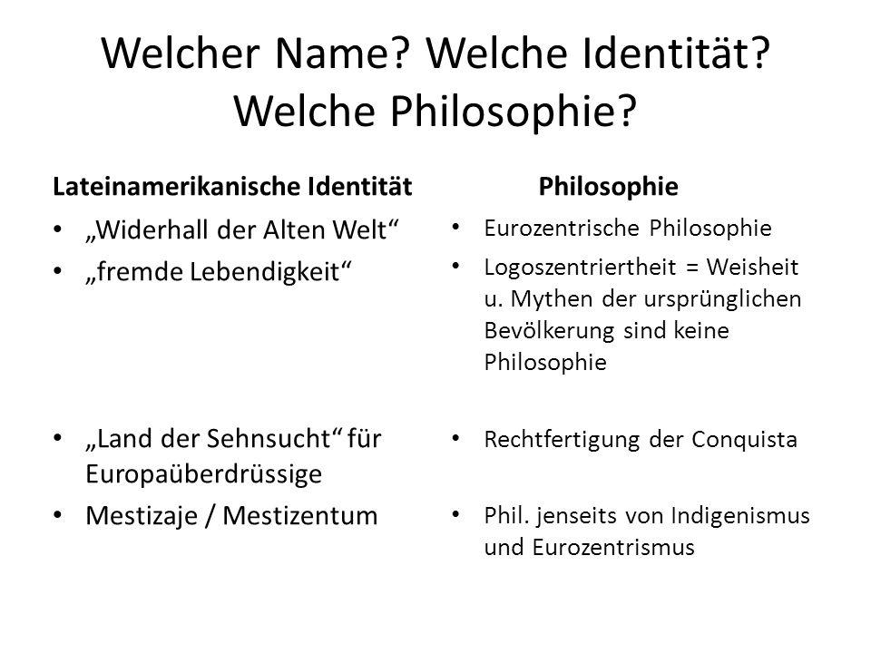 """Welcher Name? Welche Identität? Welche Philosophie? Lateinamerikanische Identität """"Widerhall der Alten Welt"""" """"fremde Lebendigkeit"""" """"Land der Sehnsucht"""