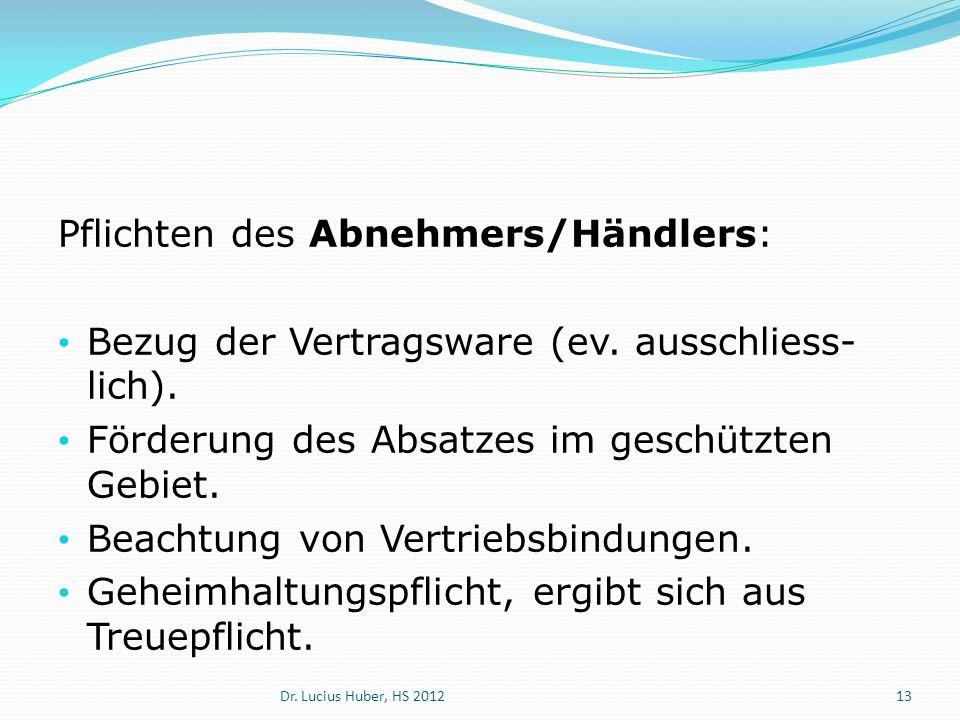 Pflichten des Abnehmers/Händlers: Bezug der Vertragsware (ev. ausschliess- lich). Förderung des Absatzes im geschützten Gebiet. Beachtung von Vertrieb