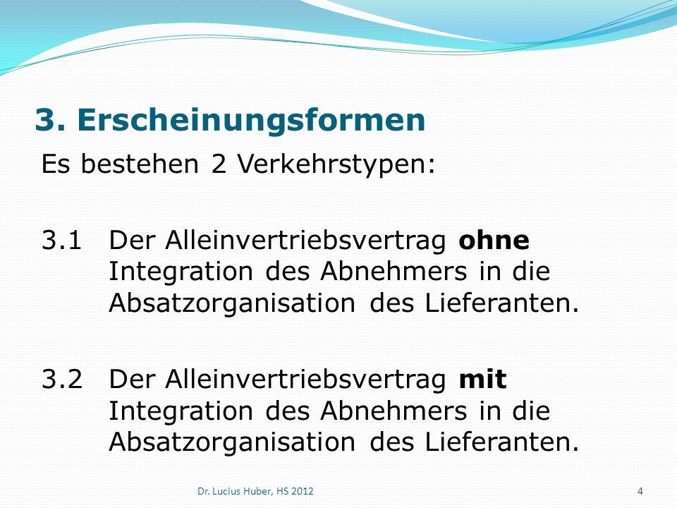 3. Erscheinungsformen Es bestehen 2 Verkehrstypen: 3.1Der Alleinvertriebsvertrag ohne Integration des Abnehmers in die Absatzorganisation des Lieferan