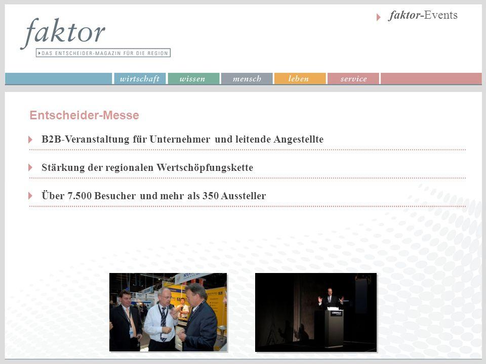 faktor-Events Stärkung der regionalen Wertschöpfungskette Über 7.500 Besucher und mehr als 350 Aussteller B2B-Veranstaltung für Unternehmer und leiten