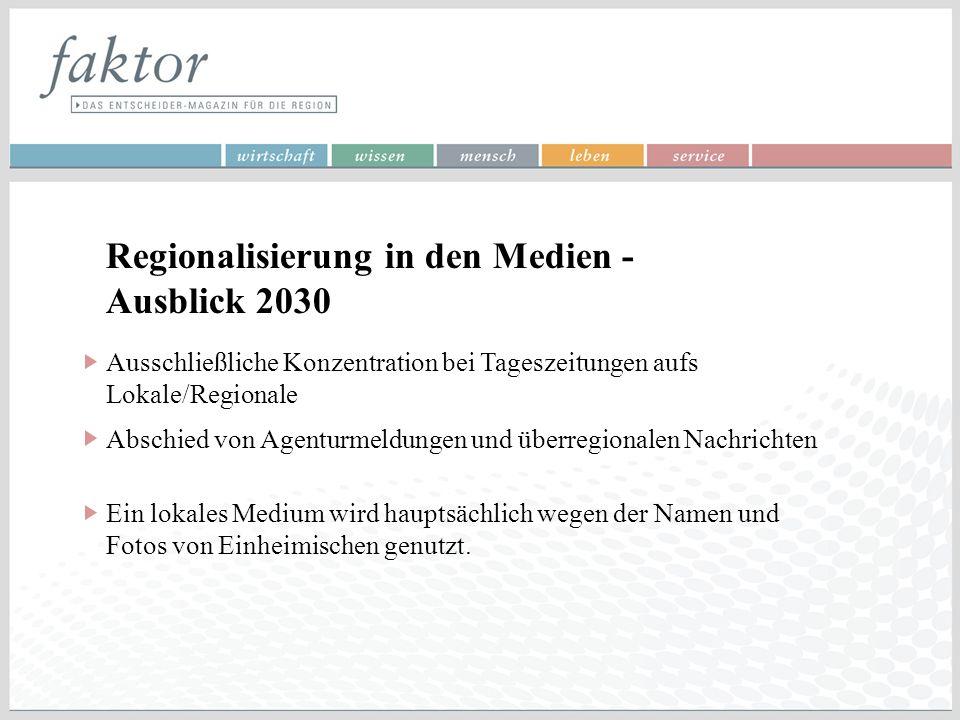 Regionalisierung in den Medien - Ausblick 2030 Ausschließliche Konzentration bei Tageszeitungen aufs Lokale/Regionale Abschied von Agenturmeldungen un