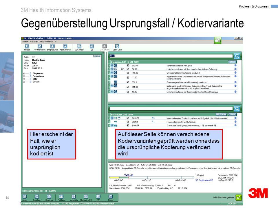 14 3M Health Information Systems Kodieren & Gruppieren © 3M 2008. All Rights Reserved. Gegenüberstellung Ursprungsfall / Kodiervariante Hier erscheint