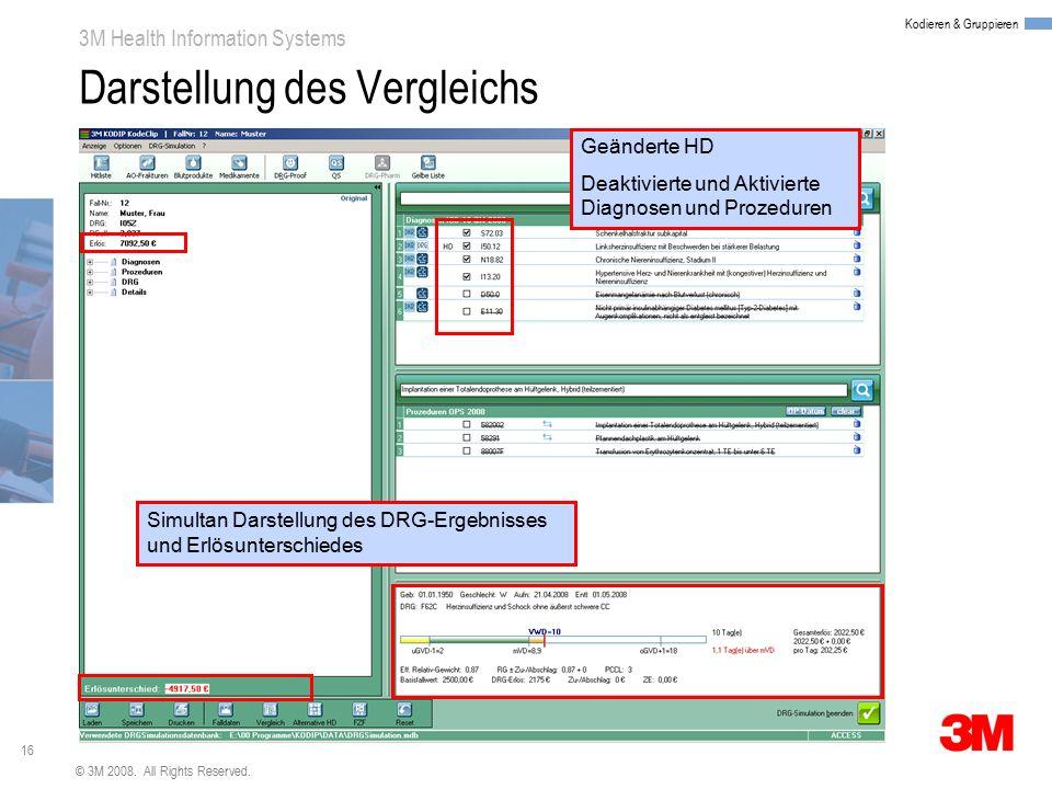 16 3M Health Information Systems Kodieren & Gruppieren © 3M 2008. All Rights Reserved. Darstellung des Vergleichs Geänderte HD Deaktivierte und Aktivi