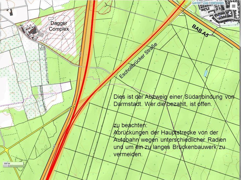 Dies ist der Abzweig einer Südanbindung von Darmstadt.