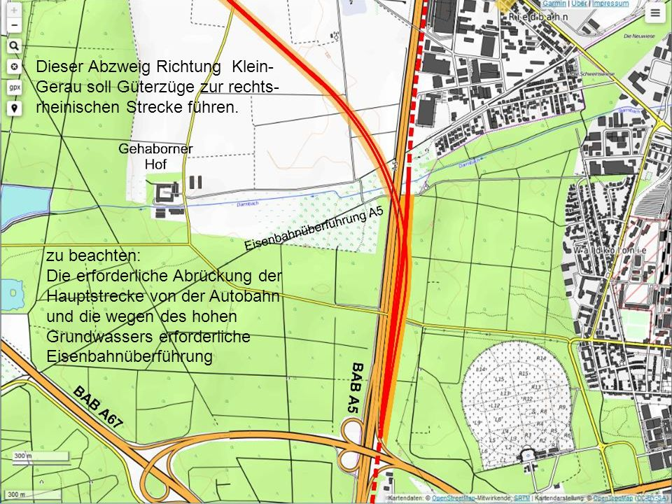 Dieser Abzweig Richtung Klein- Gerau soll Güterzüge zur rechts- rheinischen Strecke führen.