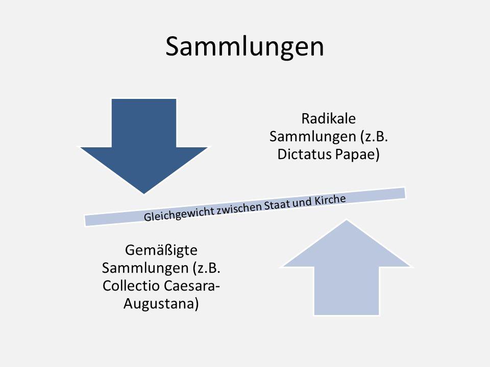 Sammlungen Radikale Sammlungen (z.B. Dictatus Papae) Gemäßigte Sammlungen (z.B. Collectio Caesara- Augustana) Gleichgewicht zwischen Staat und Kirche