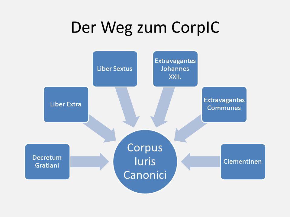 Der Weg zum CorpIC Corpus Iuris Canonici Decretum Gratiani Liber Extra Liber Sextus Extravagantes Johannes XXII. Extravagantes Communes Clementinen