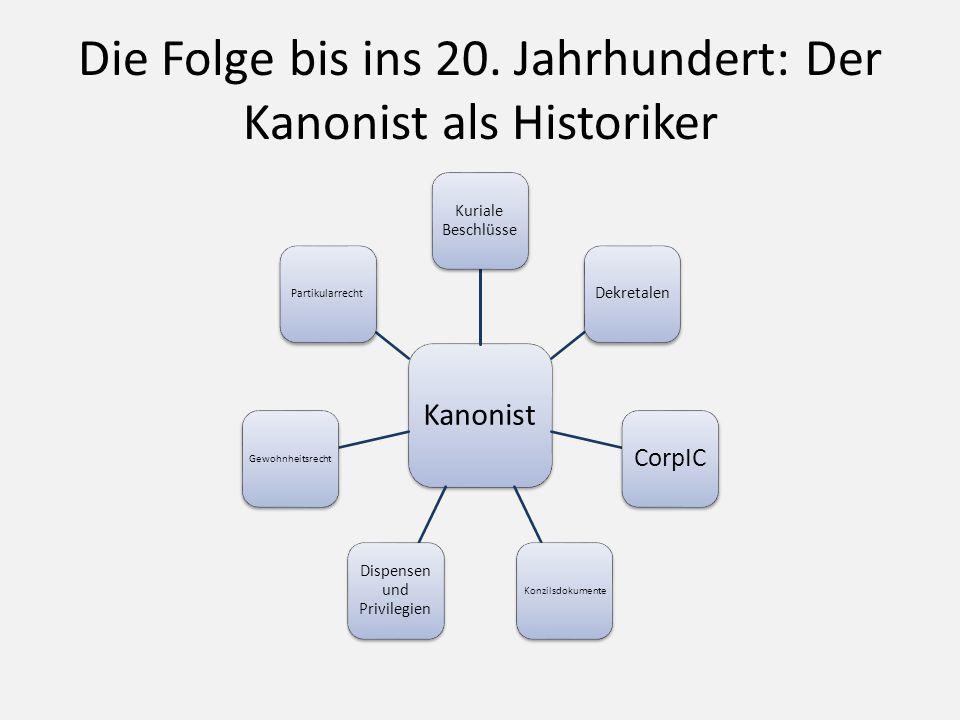 Die Folge bis ins 20. Jahrhundert: Der Kanonist als Historiker Kanonist Kuriale Beschlüsse Dekretalen CorpIC Konzilsdokumente Dispensen und Privilegie