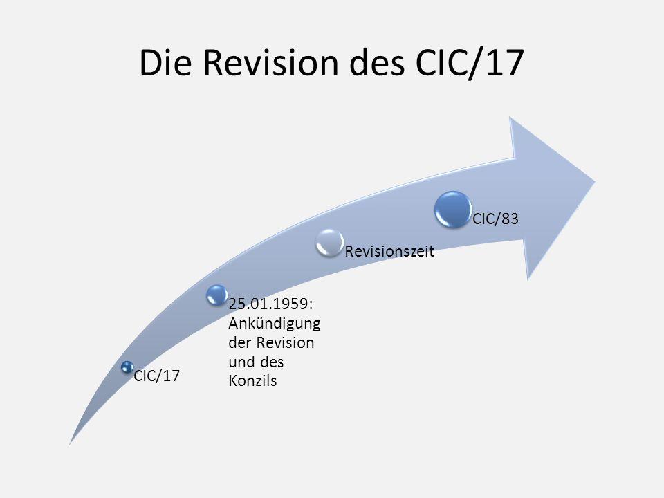Die Revision des CIC/17 CIC/17 25.01.1959: Ankündigung der Revision und des Konzils Revisionszeit CIC/83