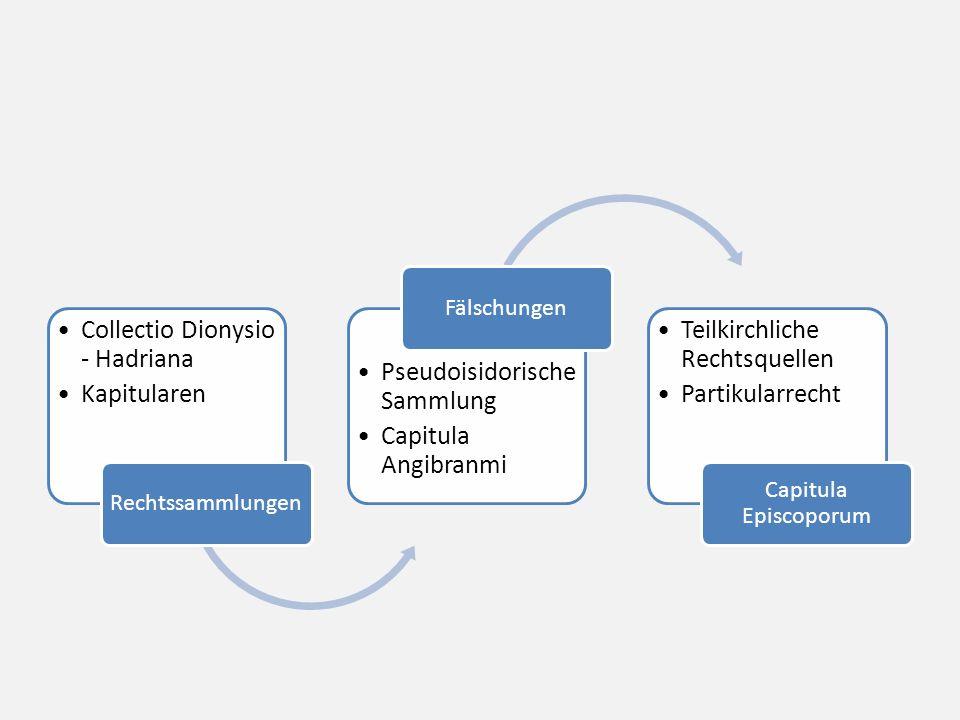 Collectio Dionysio - Hadriana Kapitularen Rechtssammlungen Pseudoisidorische Sammlung Capitula Angibranmi Fälschungen Teilkirchliche Rechtsquellen Partikularrecht Capitula Episcoporum