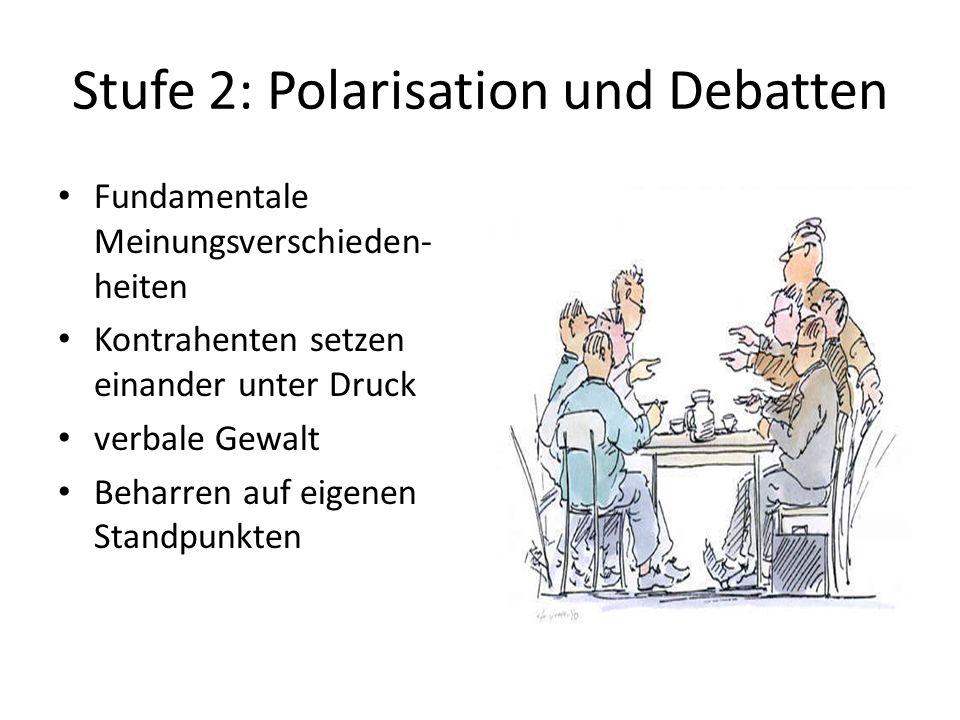 Stufe 2: Polarisation und Debatten Fundamentale Meinungsverschieden- heiten Kontrahenten setzen einander unter Druck verbale Gewalt Beharren auf eigen