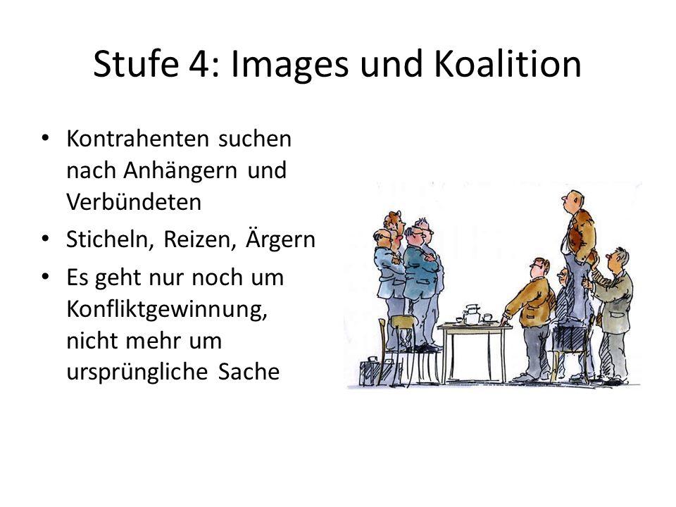 Stufe 4: Images und Koalition Kontrahenten suchen nach Anhängern und Verbündeten Sticheln, Reizen, Ärgern Es geht nur noch um Konfliktgewinnung, nicht