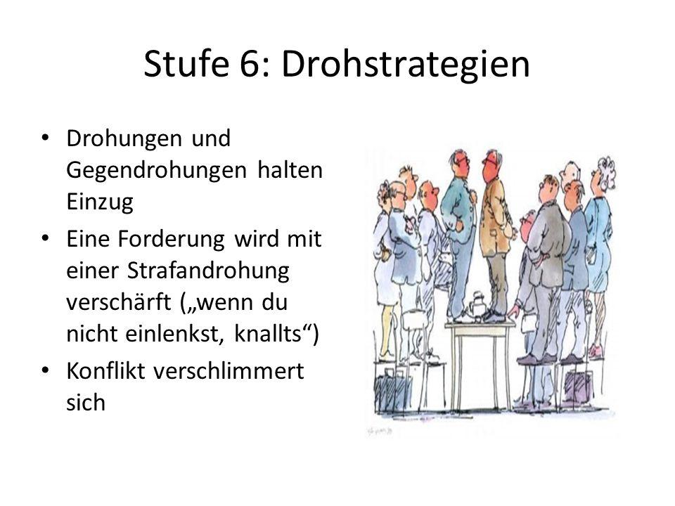 """Stufe 6: Drohstrategien Drohungen und Gegendrohungen halten Einzug Eine Forderung wird mit einer Strafandrohung verschärft (""""wenn du nicht einlenkst,"""