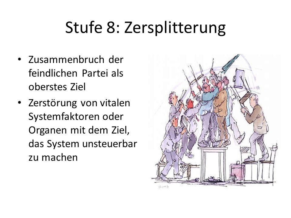Stufe 8: Zersplitterung Zusammenbruch der feindlichen Partei als oberstes Ziel Zerstörung von vitalen Systemfaktoren oder Organen mit dem Ziel, das Sy