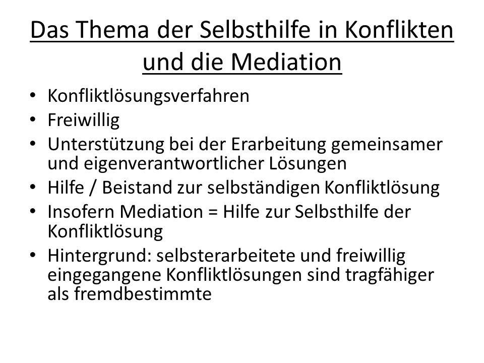 Das Thema der Selbsthilfe in Konflikten und die Mediation Konfliktlösungsverfahren Freiwillig Unterstützung bei der Erarbeitung gemeinsamer und eigenv