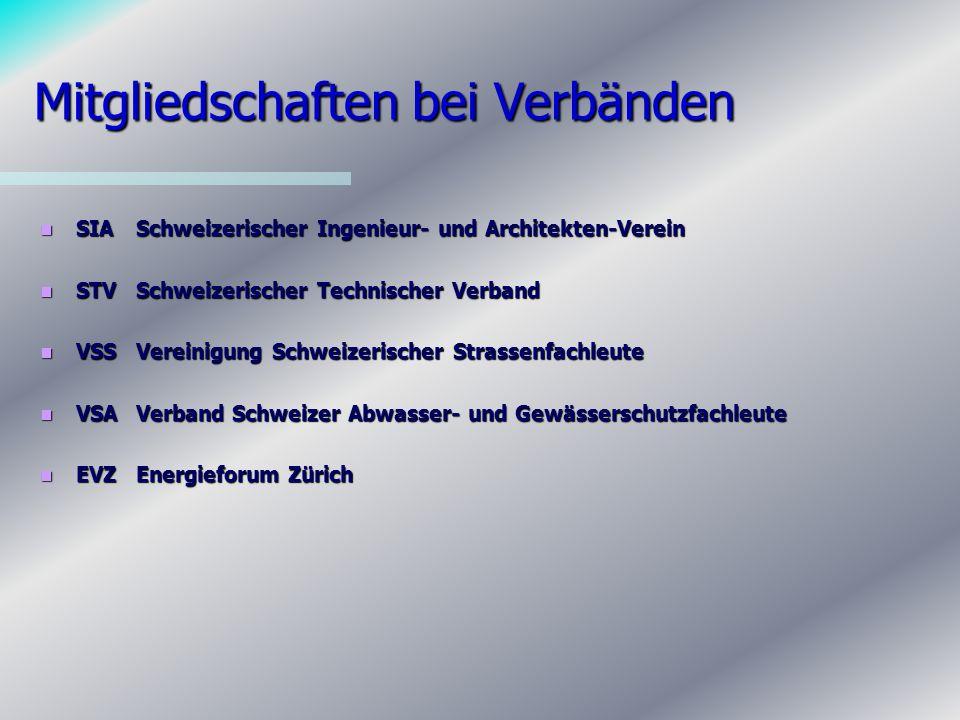 Mitgliedschaften bei Verbänden SIASchweizerischer Ingenieur- und Architekten-Verein SIASchweizerischer Ingenieur- und Architekten-Verein STVSchweizerischer Technischer Verband STVSchweizerischer Technischer Verband VSSVereinigung Schweizerischer Strassenfachleute VSSVereinigung Schweizerischer Strassenfachleute VSAVerband Schweizer Abwasser- und Gewässerschutzfachleute VSAVerband Schweizer Abwasser- und Gewässerschutzfachleute EVZEnergieforum Zürich EVZEnergieforum Zürich