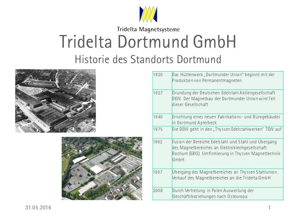 """Tridelta Dortmund GmbH Historie des Standorts Dortmund 1920Das Hüttenwerk """"Dortmunder Union"""" beginnt mit der Produktion von Permanentmagneten 1927Grün"""