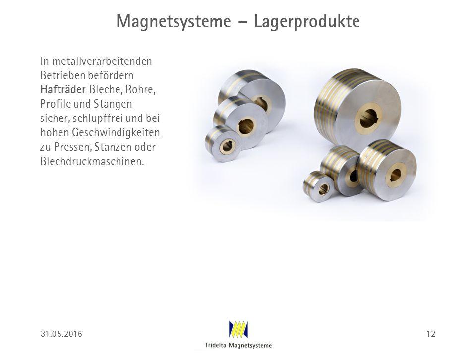 Magnetsysteme – Lagerprodukte In metallverarbeitenden Betrieben befördern Hafträder Bleche, Rohre, Profile und Stangen sicher, schlupffrei und bei hohen Geschwindigkeiten zu Pressen, Stanzen oder Blechdruckmaschinen.