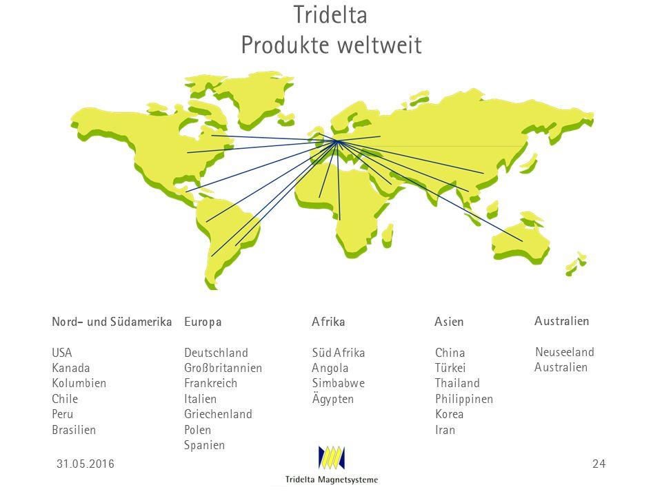 Tridelta Produkte weltweit Nord- und Südamerika USA Kanada Kolumbien Chile Peru Brasilien Europa Deutschland Großbritannien Frankreich Italien Grieche