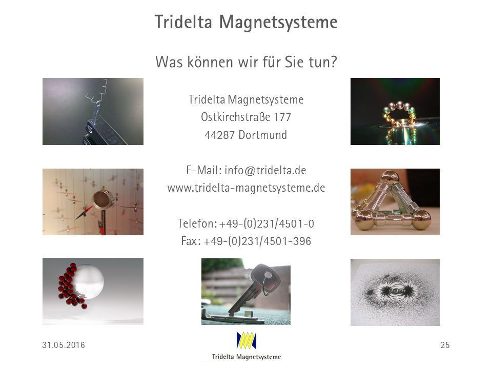Tridelta Magnetsysteme Was können wir für Sie tun? Tridelta Magnetsysteme Ostkirchstraße 177 44287 Dortmund E-Mail: info@tridelta.de www.tridelta-magn
