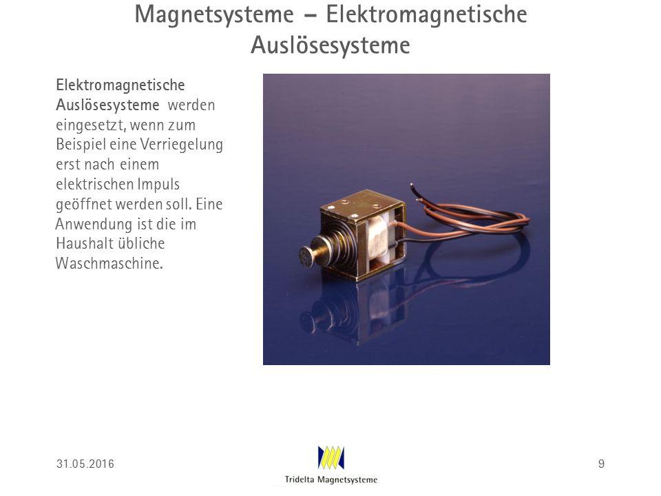 Magnetsysteme – Elektromagnetische Auslösesysteme Elektromagnetische Auslösesysteme werden eingesetzt, wenn zum Beispiel eine Verriegelung erst nach einem elektrischen Impuls geöffnet werden soll.