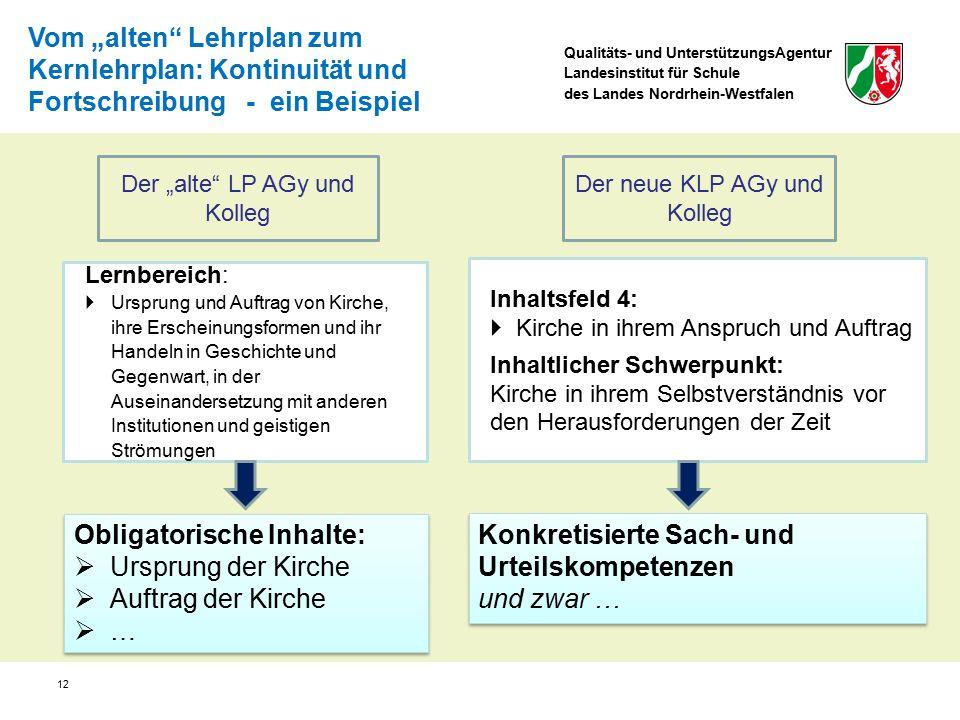 Qualitäts- und UnterstützungsAgentur Landesinstitut für Schule des Landes Nordrhein-Westfalen Lernbereich:  Ursprung und Auftrag von Kirche, ihre Ers
