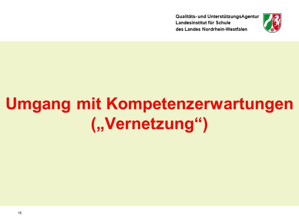 """Qualitäts- und UnterstützungsAgentur Landesinstitut für Schule des Landes Nordrhein-Westfalen Umgang mit Kompetenzerwartungen (""""Vernetzung"""") 15"""