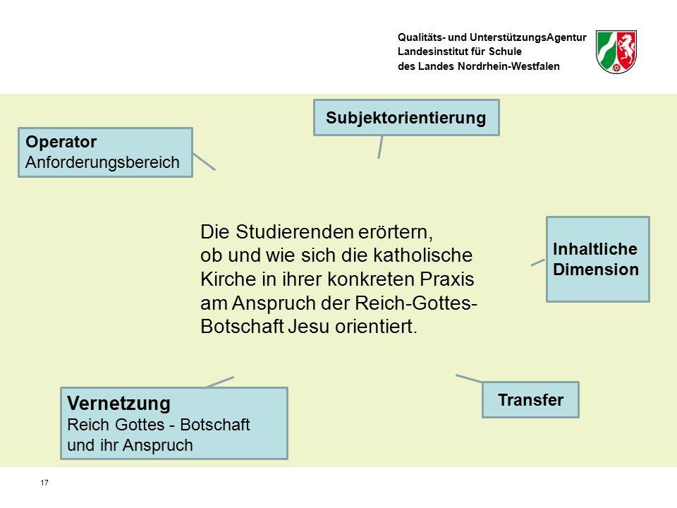 Qualitäts- und UnterstützungsAgentur Landesinstitut für Schule des Landes Nordrhein-Westfalen 17 Operator Anforderungsbereich Subjektorientierung Die