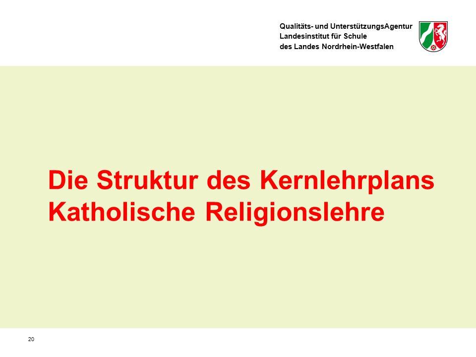 Qualitäts- und UnterstützungsAgentur Landesinstitut für Schule des Landes Nordrhein-Westfalen 20 Die Struktur des Kernlehrplans Katholische Religionslehre