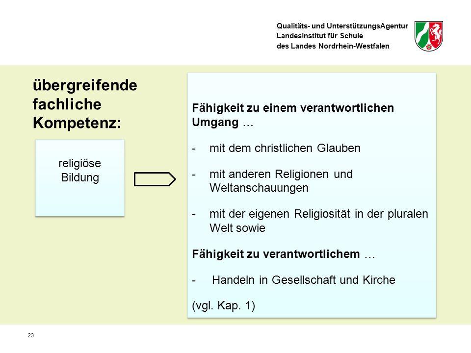Qualitäts- und UnterstützungsAgentur Landesinstitut für Schule des Landes Nordrhein-Westfalen übergreifende fachliche Kompetenz: religiöse Bildung Fäh