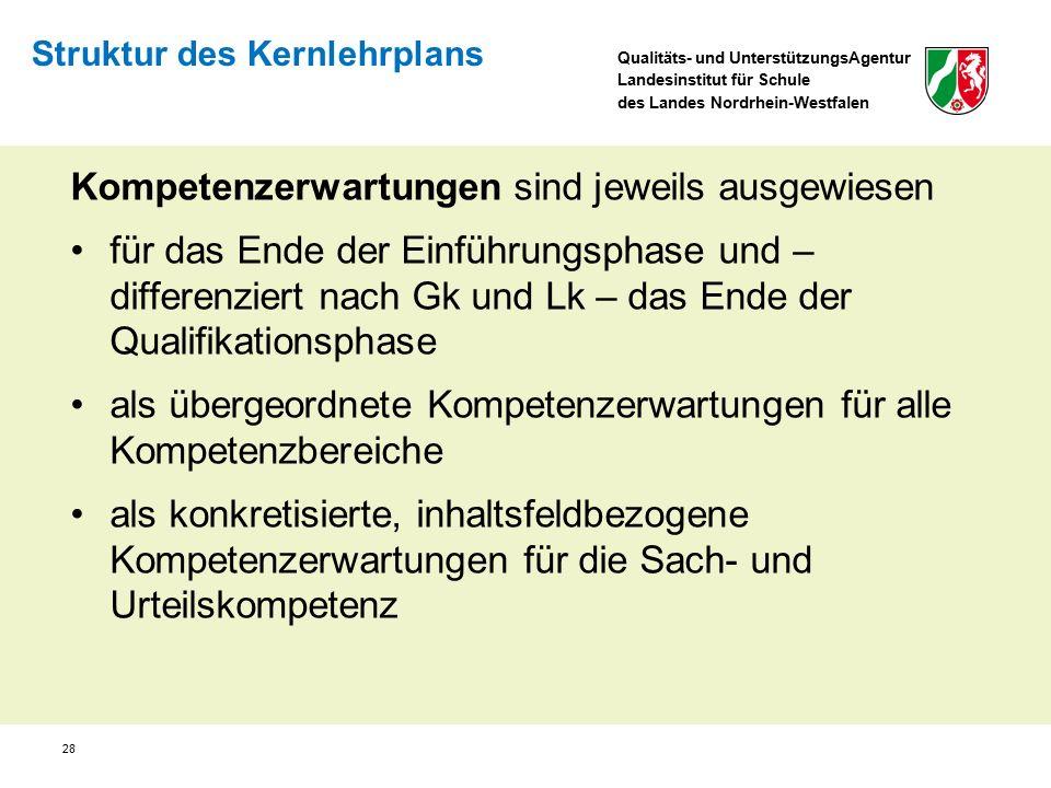 Qualitäts- und UnterstützungsAgentur Landesinstitut für Schule des Landes Nordrhein-Westfalen 28 Kompetenzerwartungen sind jeweils ausgewiesen für das
