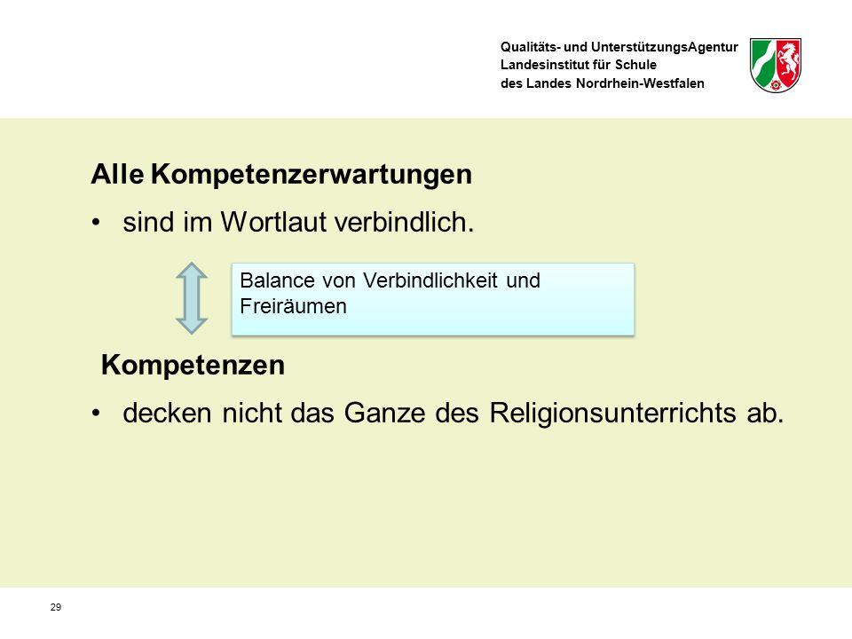 Qualitäts- und UnterstützungsAgentur Landesinstitut für Schule des Landes Nordrhein-Westfalen 29 Alle Kompetenzerwartungen sind im Wortlaut verbindlic